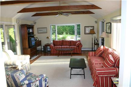 Dennis Cape Cod vacation rental - The family room. To the left is a screened in porch