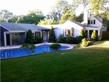 Dennis Cape Cod vacation rental - Rear view of the house in the early evening.