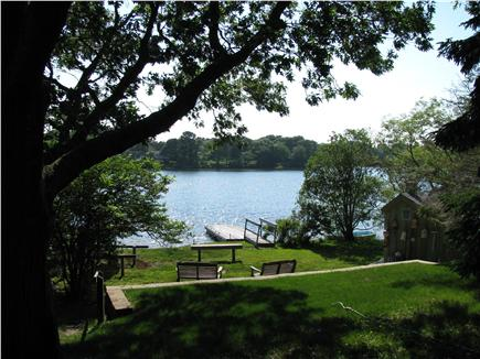 West Dennis Cape Cod vacation rental - Kelleys Pond with private float/sitting area from cottage deck