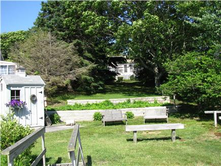 West Dennis Cape Cod vacation rental - Sit or sun at pond frontage looking toward cottage
