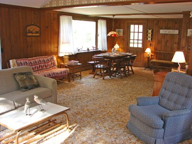 Brewster Cape Cod vacation rental - Large living room with sliders to back yard and cable TV