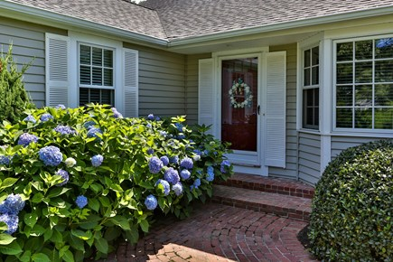 Chatham, downtown Cape Cod vacation rental - Front door with accompanying hydrangeas
