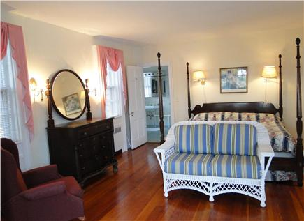 Chatham Cape Cod vacation rental - First floor Master bedroom w/ bay window facing water & full bath