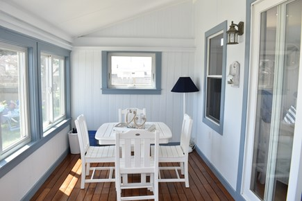 Dennis Port-Ocean Front Cape Cod vacation rental - Seascape Sun Porch-Great for playing games!