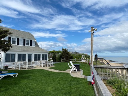 Dennis Port-Ocean Front Cape Cod vacation rental - Path to private beach. Outside dining for 16 with the Ocean View.