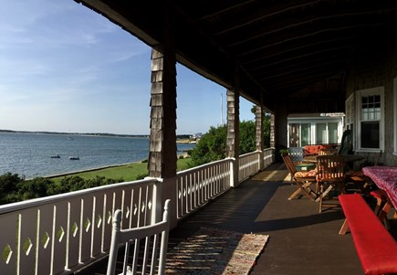 Monument Beach / Bourne Cape Cod vacation rental - The expansive 50 foot porch overlooking Phinney's Harbor.