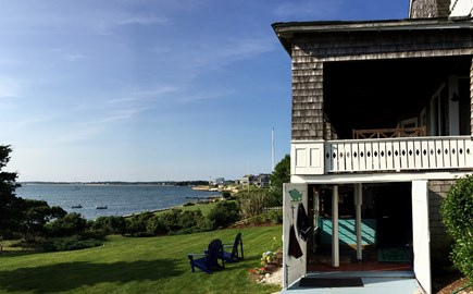 Monument Beach / Bourne Cape Cod vacation rental - View of the porch, bath-house and Phinney's Harbor.