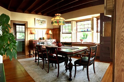 Monument Beach / Bourne Cape Cod vacation rental - The Dining Room - dishes, napkins, silverware - setting for 12