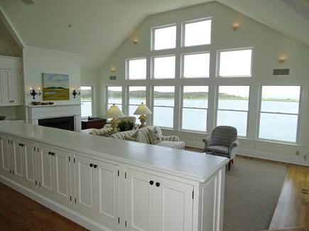 Wellfleet Cape Cod vacation rental - Living Room with 16 foot ceilings & mesmerizing water views