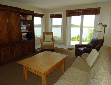 Wellfleet Cape Cod vacation rental - Family room with books, toys, a TV & door to the deck