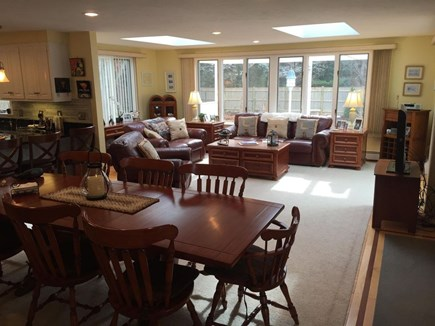 West Dennis Cape Cod vacation rental - View of family room from kitchen dining table (seats 12)