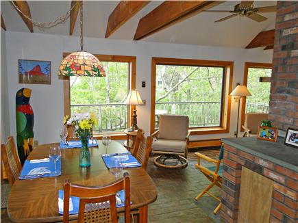 Falmouth, Waquoit Cape Cod vacation rental - Dining area, adjacent to deck