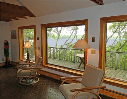 Falmouth, Waquoit Cape Cod vacation rental - Living room looking Southeast at 2 rivers meeting bay