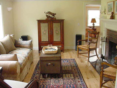 Barnstable, Cummaquid Cape Cod vacation rental - Cozy living room with fireplace and bay window