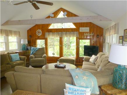 North Eastham - Bayside Cape Cod vacation rental - Sunny living room with plenty of seating