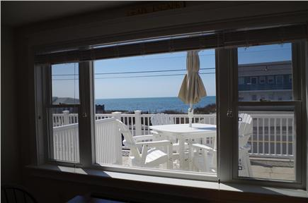 Dennis Port Cape Cod vacation rental - Dining area view from indoors of outdoor seating and ocean view