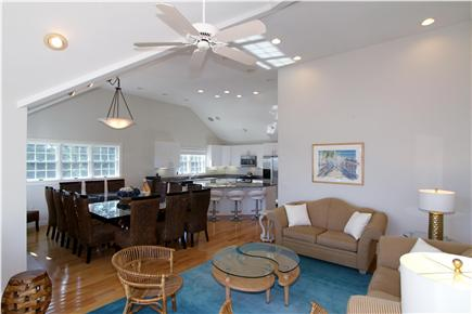 East Orleans Cape Cod vacation rental - View of the Living Room, Dining and Kitchen. Enjoy the open arch