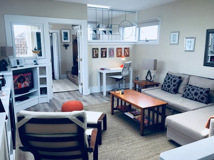Provincetown Cape Cod vacation rental - Living room w/ brand new furniture (sofa converts to queen bed)!