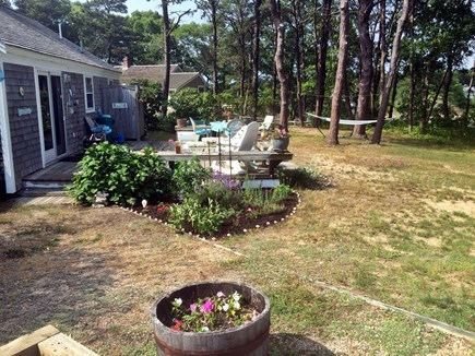 Hyannisport Cape Cod vacation rental - Large backyard with hammock, outdoor shower and gas grill by deck