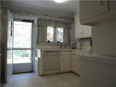 Harwich Port Cape Cod vacation rental - Large kitchen looking out to backyard