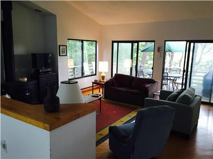 Truro Cape Cod vacation rental - Large sunken living room opens to deck and has spectacular views.