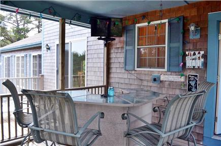 North Truro Cape Cod vacation rental - Screen porch bar