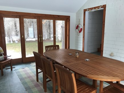 East Orleans Cape Cod vacation rental - Breezeway with Large Teak Table & Chairs