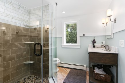 Chatham Cape Cod vacation rental - Beautiful master bath with large natural stone walk-in shower