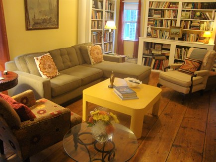 Wellfleet Center Cape Cod vacation rental - Comfortable living room with books, games, window seat, tv