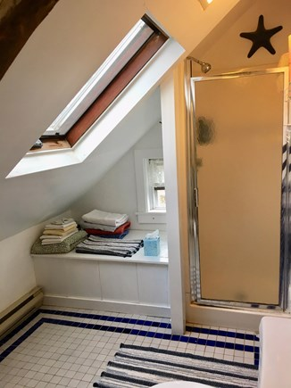 Wellfleet Center Cape Cod vacation rental - Upstairs bathroom with shower, skylight