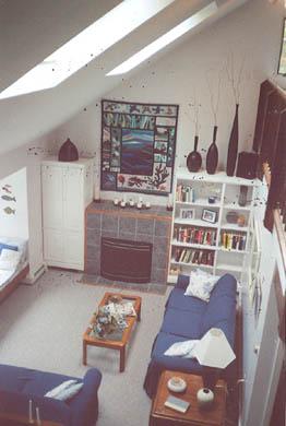 Wellfleet Cape Cod vacation rental - Living room from loft, gas fireplace, sky lights