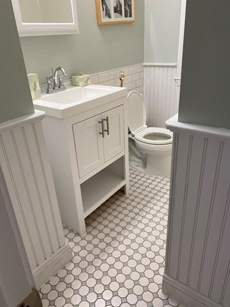 West Yarmouth Cape Cod vacation rental - Renovated  bath with new tile floor, vanity, and medicine chest