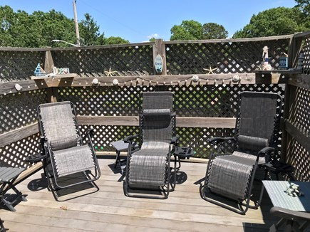 West Yarmouth Cape Cod vacation rental - Read the paper and drink coffee on private deck off master BR