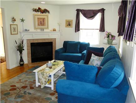 Dennis Cape Cod vacation rental - Living room with gas fireplace, flat screen TV