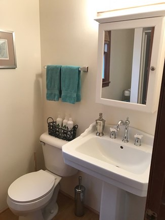 Eastham Cape Cod vacation rental - Updated bathroom in studio with pedestal sink.
