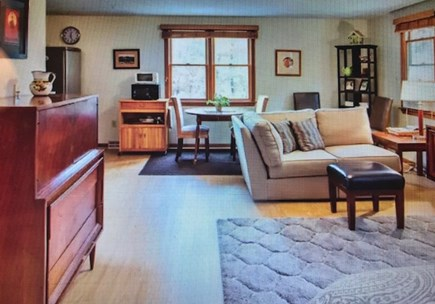 Eastham Cape Cod vacation rental - Studio with king size bed (in foreground), mini kitchen and bath.