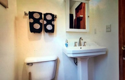 Eastham Cape Cod vacation rental - Studio bath with pedestal sink and 4 ft. stall shower.