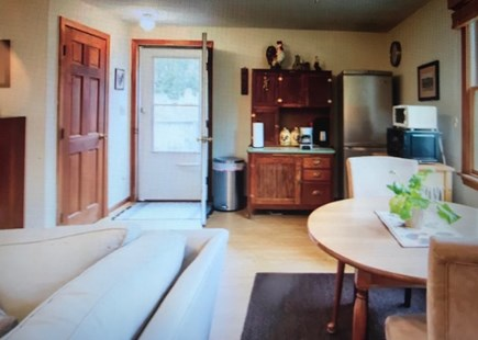 Eastham Cape Cod vacation rental - Studio view of the Hoosier, refrigerator & dining table.  Private