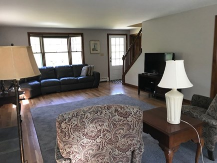 Eastham Cape Cod vacation rental - Living room with newly installed white oak flooring looks superb.