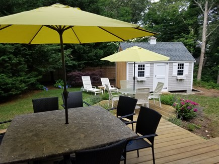 West Harwich Cape Cod vacation rental - Deck area with table and lounge chairs