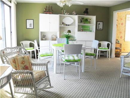 South Yarmouth Cape Cod vacation rental - White wicker family room