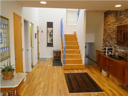 Wellfleet Harbor, on the Bluff Cape Cod vacation rental - Entrance hall, showing stairs up and down