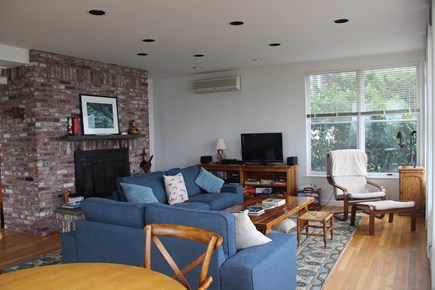 Wellfleet Harbor, on the Bluff Cape Cod vacation rental - The living room - TV and Fireplace for cooler seasons