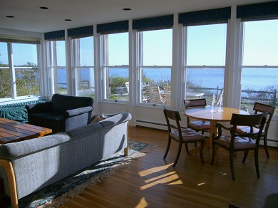 Wellfleet Harbor, on the Bluff Cape Cod vacation rental - Part of the living room's spectacular view - 270 degrees!