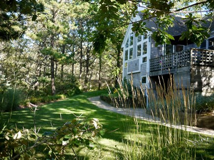 Wellfleet Cape Cod vacation rental - Left side of the house w deck & professionally maintained gardens