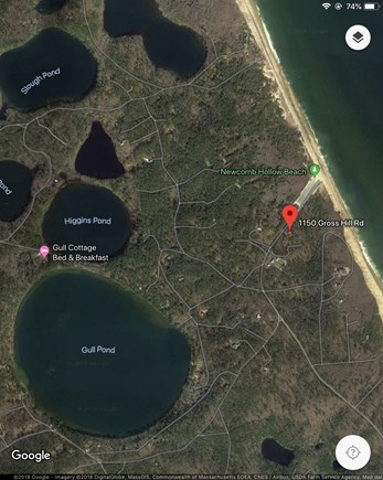 Wellfleet Cape Cod vacation rental - Aerial view showing proximity to beach and local kettle ponds