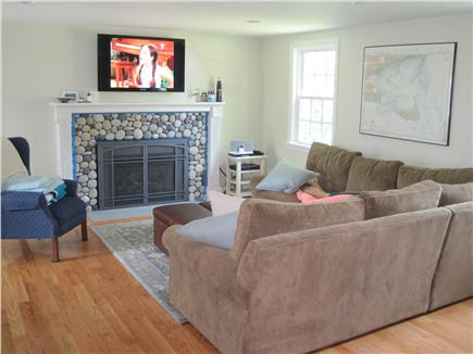 Falmouth Cape Cod vacation rental - Living Room with HDTV and gas fireplace