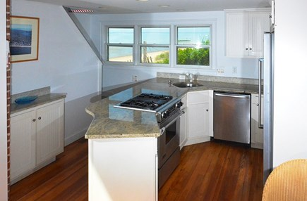 Eastham Cape Cod vacation rental - Stainless steel kitchen with a view of the beach.