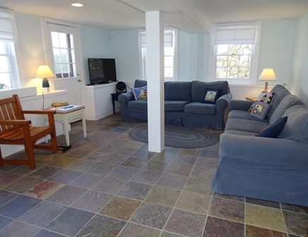 Woods Hole, Falmouth Woods Hole vacation rental - Downstairs family room with TV, walk out to patios and beach