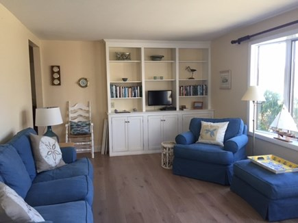 Chatham Cape Cod vacation rental - Sunny living room with bay window and full length couch and TV